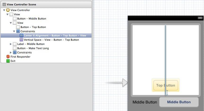 Interface Builder's centering constraint on the top button is applied to its superview, not itself