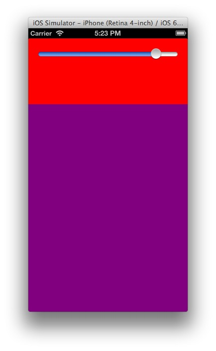 End State with Tall Purple UIView