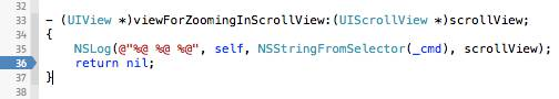 Xcode viewForZoomingInScrollView breakpoint.
